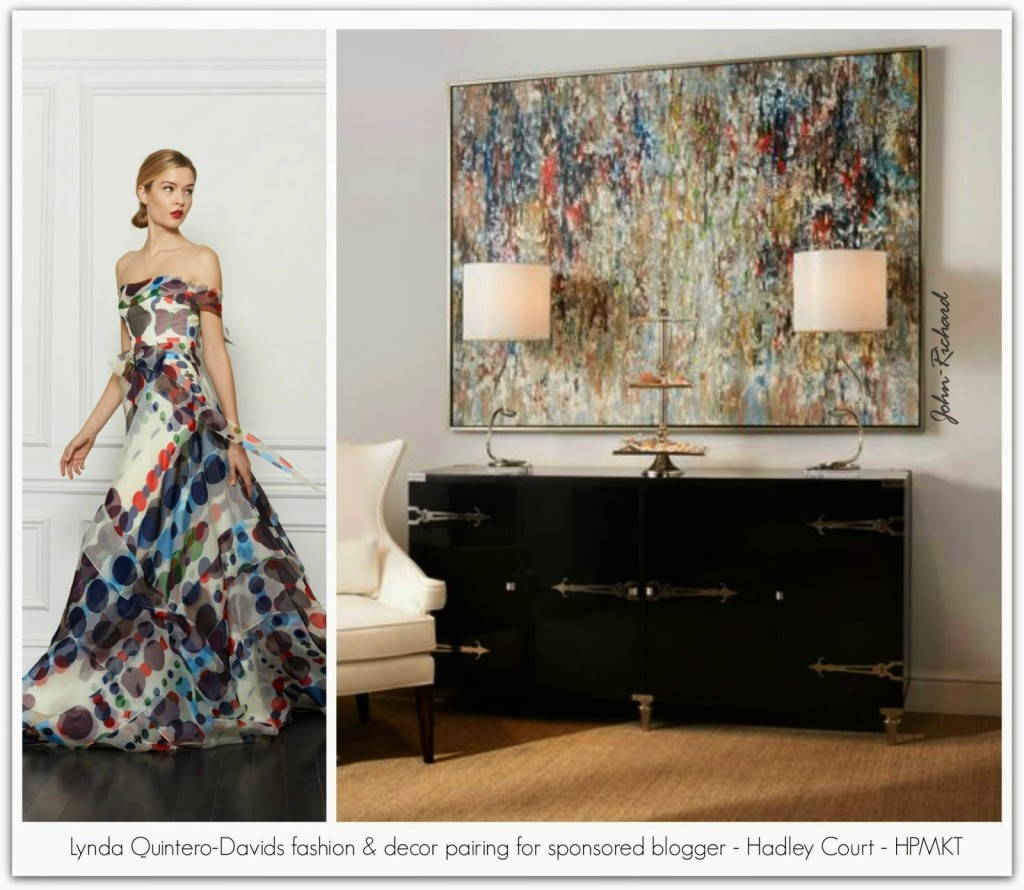 Lynda Quintero-Davids fashion decor pairing for sponsored blogger Hadley Court HPMKT JRC art